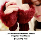 KNITTED WINTER GLOVES Women Fashion Warmer Faux Fur Fingerless Wrist Mittens UK