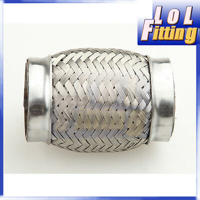 "2.25/"" Exhaust Flex Pipe 8/"" Length Stainless Steel Coupling Interlock"