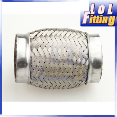"2.25/"" Exhaust Flex Pipe 4/"" length Stainless Steel coupling Interlock"