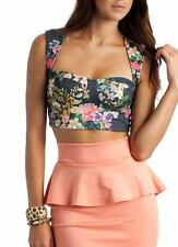 GoJane H/M Blue Sweetheart Neck Floral Bustier Cami Tank Crop Knit Top Size S