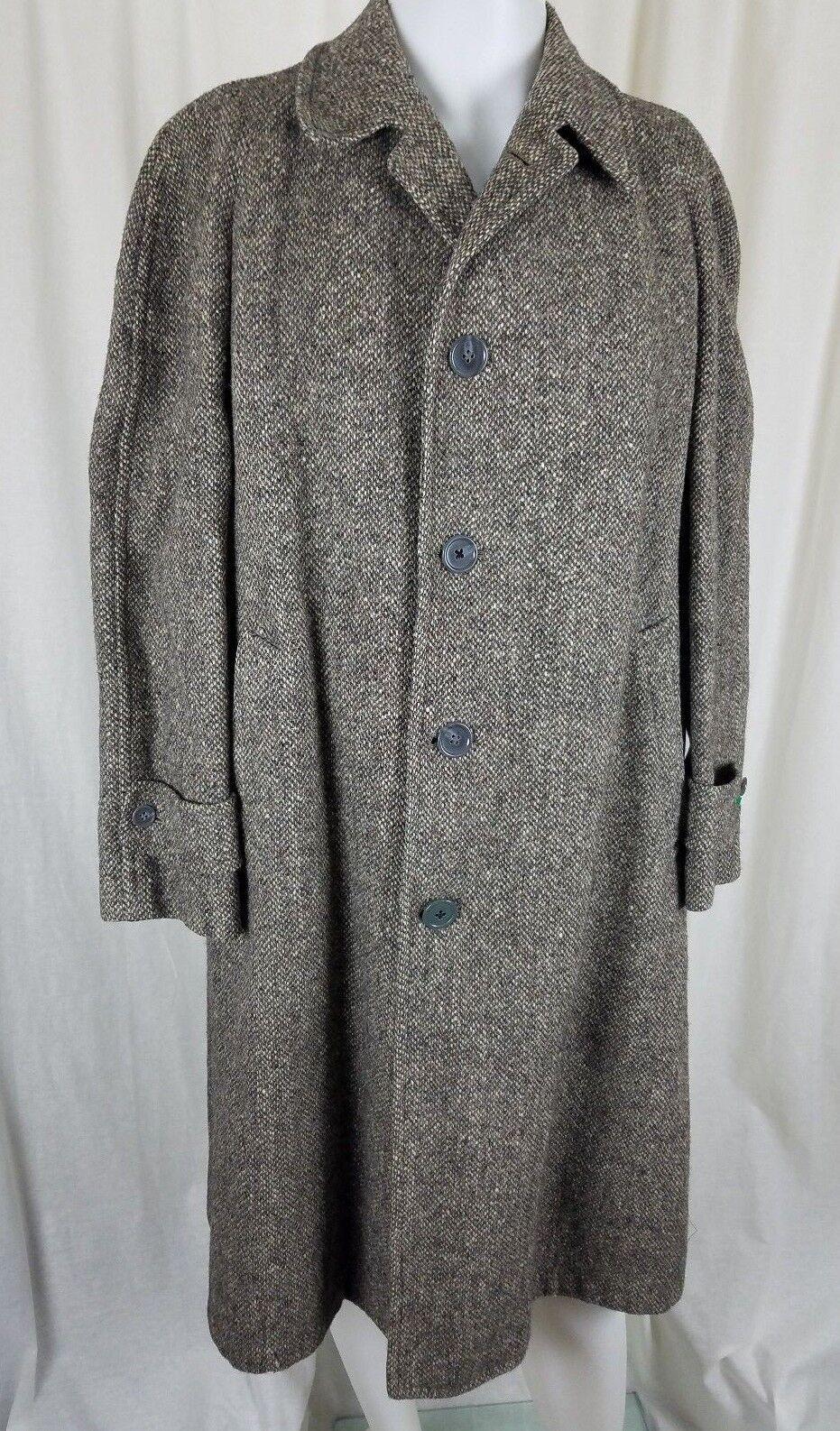 Vintage Kencrest Kennedy's Kromleigh Tweed Wool Peacoat Coat  Herren 39 S 50s grau