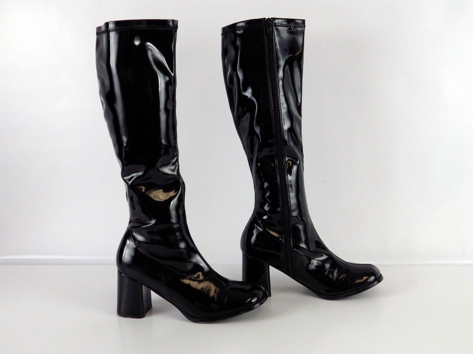 "Pleaser BLACK GOGO-300 3"" Women's BOOTS Side Zip STRETCH PU Knee High Boots Sz 9"