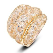 Size 8 Austrian Crystal Wire Mesh Net Cocktail Ring 18K GP Women Gift Hot R561