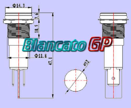 SPIA LED BIANCO 12V AC DC METALLO FLAT 12mm auto moto camper segnalatore lampada