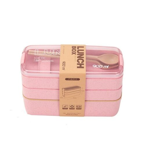 900ml Healthy Material Lunch Box 3 Layer Wheat Straw Bento Boxes Lunchbox