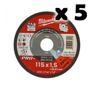 MILWAUKEE-5-Dischi-da-Taglio-Sottile-Metallo-115mm-x1-5mm-per-Smerigliatrice