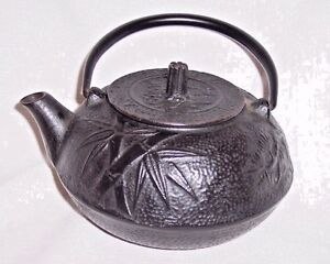 Details About Antique Small Cast Iron Japanese Cast Iron Tea Pot Kettle Bamboo Decor Design