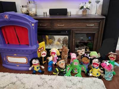 Step2 Puppet Theater 15 Hand Puppets~LOT~Moveable Mouths~Developmental Role Play