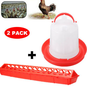 50cm Trough Feeder & 1.5L Drinker for Chicken Poultry Hens Food Water Accesories