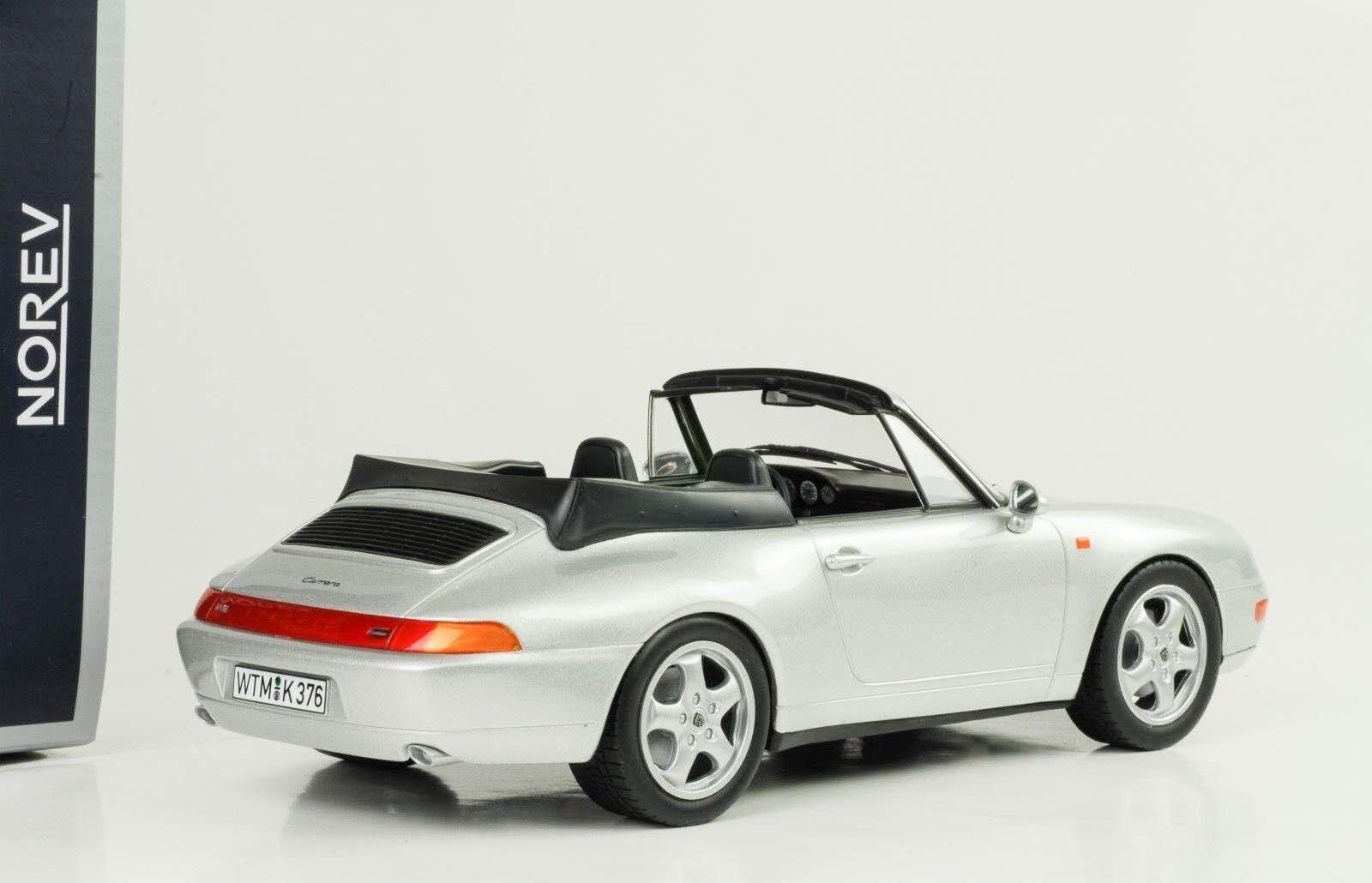 1995 Porsche 911 993 Cabriolet avec Roof Argent Argent, Échelle 1:18 Norev | Authentique  | Exquis  | Une Grande Variété De Modèles 2019 New
