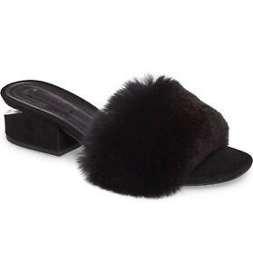 ALEXANDER-WANG-LOU-Genuine-Rabbit-Fur-Slide-Mule-Sandal-Low-Block-Heel-36-Black