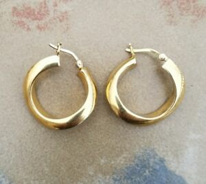Details about FAS ITALY 925 STERLING SILVER TWISTED HOOP EARRINGS