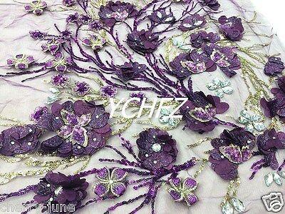 "Classical 3D Purple Elegant Embroidery Sequins Gauze/Mesh Lace Fabric19.6""x47.2"""