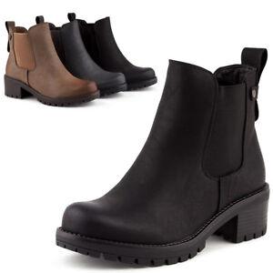 Damen Flache Chelsea Boots Stiefeletten Stiefel Schuhe EUR 36-41 Grau
