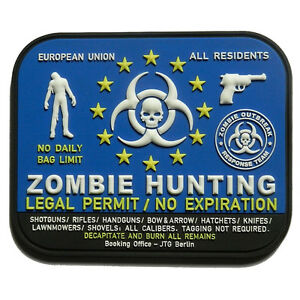 PATCH-JTG-3D-GOMME-ZOMBIE-HUNTING-PAINTBALL-AIRSOFT-ARMEE-MILITAIRE-INSIGNE