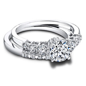 1.20 Ct Round Moissanite Band Set 14K Solid White Gold Anniversary Ring Size 5
