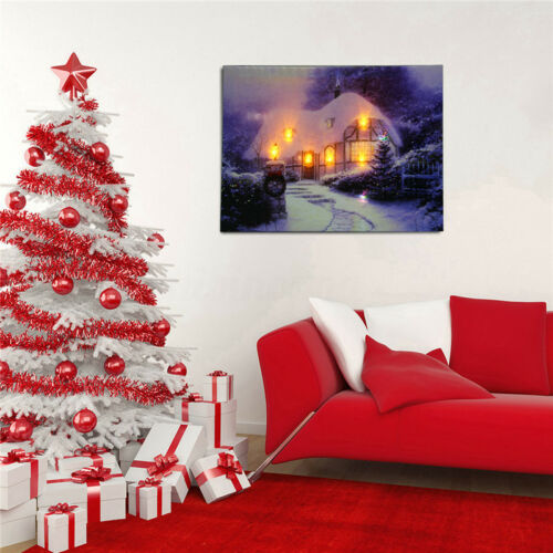 LED Landscape Light Canvas Painting Print Home Christmas Wall Art Picture  US