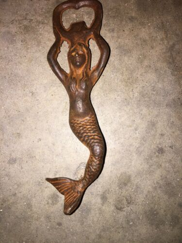 Mermaid Bottle Opener Beer Brewery Soda Coca Cola Solid Cast Iron Antique Style!