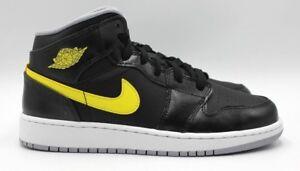 30c579375f79 NIKE Air Jordan 1 Mid BG - Leather Black Yellow - Kids Size 5.5 ...