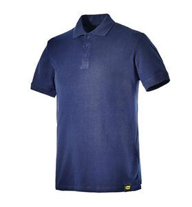 Dettagli su Polo da lavoro maglia maglietta in cotone maniche corte DIADORA Atlar II blu