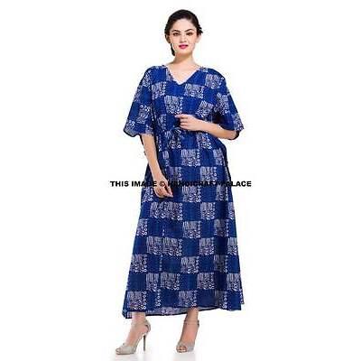 Anokhi Organic Indigo Art Deco Block print Indian cotton Tunic Long Kaftan Gown