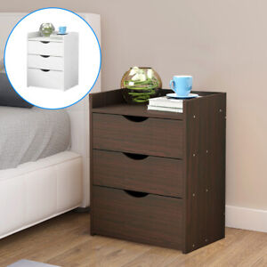 Nightstand Bedside Table 3 Drawer Cabinet Storage Table Bedroom Furniture UK New