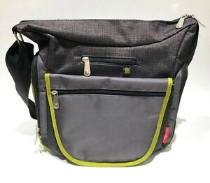 14aaf4ee3e5a Details about FISHER-PRICE DELUXE CROSSBODY HOBO Diaper Bag Gray/Green w/  Changing Pad