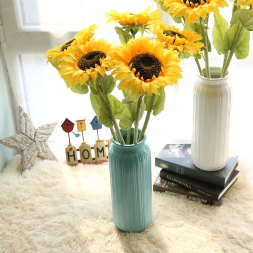 Artifical Sunflowers Fake Silk Flowers Floral Single Stem Bouquet Home Decora
