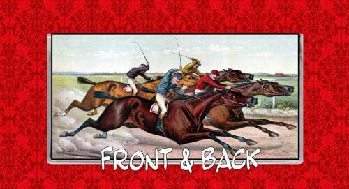 HORSE RACING KENTUCKY DERBY BELMONT STAKES JOCKEY VINTAGE VINYL CHECKBOOK COVER