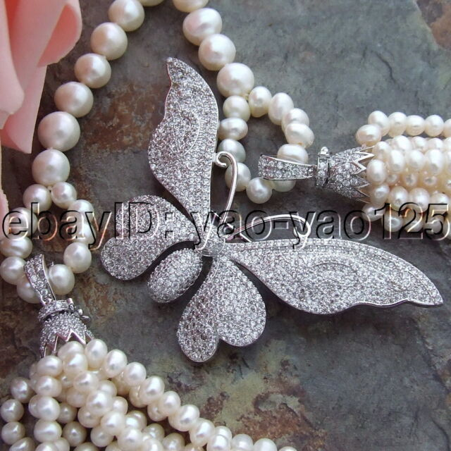 "H072002 46"" White Round Pearl Necklace CZ Pendant"