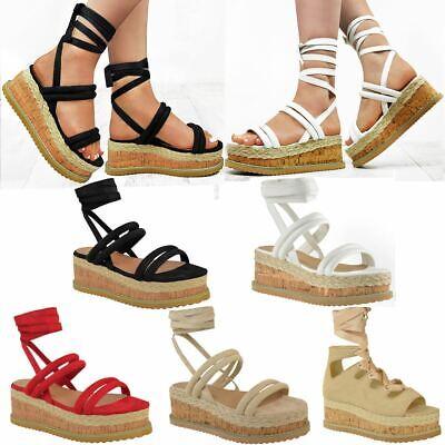 Womens Ladies Lace Up Ribbon Espadrilles Wedge Flatforms Flat Sandals Shoes Size | eBay