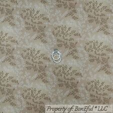 """BonEful Fabric Cotton Quilt BTHY 108"""" Tan Brown Natural Calico Flower Small Leaf"""