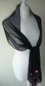 Black-Pure-Silk-Stole-Scarf-Wrap-Sparkly-Pink-Green-Floral-Leaf-Sequins-Beads