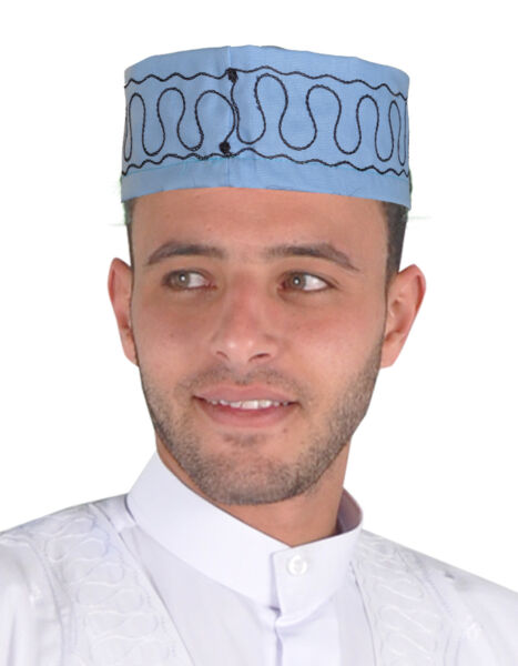 100% Verdadero Tradicional árabe Señores Tape La Cabeza Carnaval Gorra Hell-azul-kb0031-ver Variedades Anchas