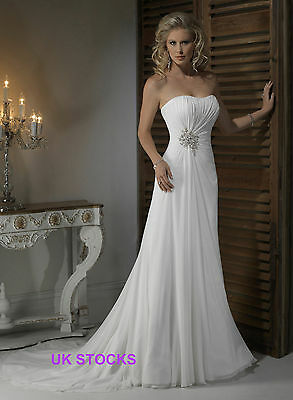 Elegant Chiffon Wedding Dresses Size 6 8 10 12 14 16 18 Custom Made UK Stock