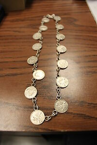 GEORGE-V-15-3-PENCE-SILVER-COINS-MADE-INTO-18-034-NECKALCE