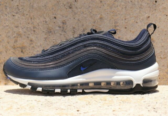 check out 559af f5a17 Nike Air Max 97 921826-402 Obsidian Blue White Black Running Shoes Sz 7  M,8.5 W
