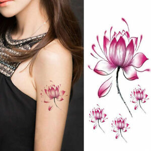 Purple Lilly Flower Temporary Tattoos 3d Body Art Stickers Fake Kids