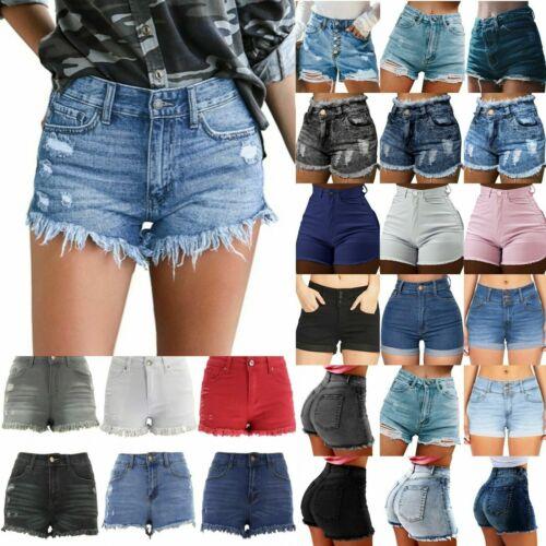 Women Ripped Denim Shorts Jeans High Waist Skinny Stretch Summer Mini Hot Pants