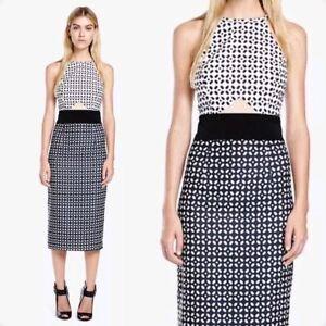 Minty-Meets-Munt-Dress-M-Monochrome-Black-White-Print-Midi-Pencil-Cut-Out