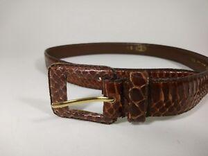 Vintage-Tan-Genuine-Women-039-s-Snake-Skin-Belt-R-O-C