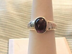 Bezel Set Amethyst Cabochon Sterling Silver Ring .925 Size 8.25  8 1/4