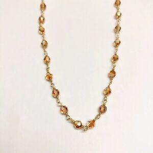 Swarovski-Crystal-Beaded-Choker-Necklace-14K-Gold-Filled-Topaz-Color-Beads
