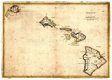MAP  1837 KALAMA HAWAIIAN ISLANDS HAWAII MAUI OAHU KAUAI REPLICA PRINT PAM1688