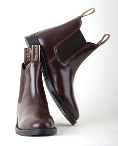 RHINEGOLD COMFEY CLASSIC LEATHER HORSE RIDING JODHPUR BOOTS ADULT BLACK//BROWN..