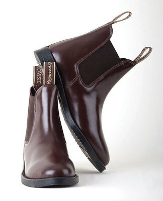 Rhinegold Real Leather Short Childrens Kids Riding Jodhpur Boots With Elastic