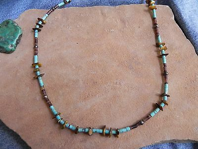 Turquoise, Tiger's Eye, Penshell Heishi & Sterling Silver beads Necklace 27.5""