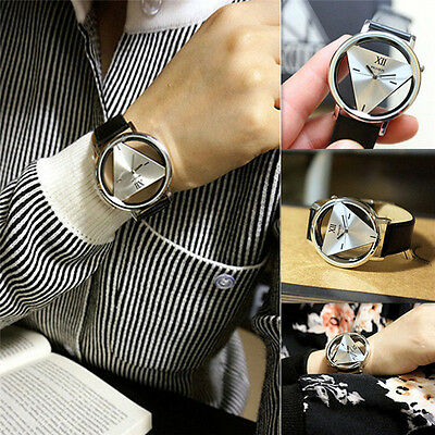 Fashion Women Mens Leather Band Stainless Steel Sport Analog Quartz Wrist Watch