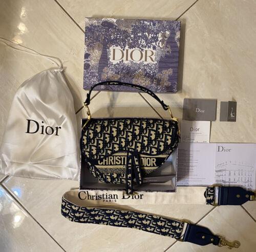 Christian Dior Saddle Bag Blue Dior Oblique Embroi