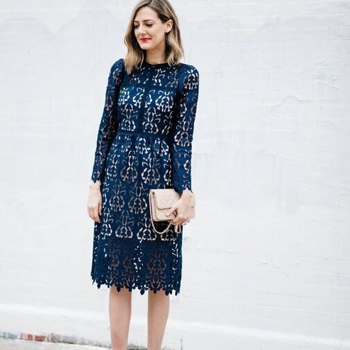 ZARA NAVY blueE LACE GUIPURE EMBROIDERED CROCHET MIDI DRESS  9775 041 XS